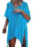 Paréo Femme Plage Mini Robes Grande Taille Tunique Pull Col V Kimono Bohême Mode Bikini Cover Up Crochet Blouse (One Size, Lac Bleu)