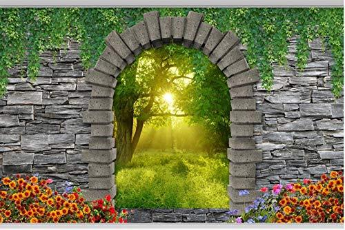 Papel Pintado Pared Jardín Muro De Piedra Arcos Bosque Flores Papel Pintado Pared Tejido No Tejido Murales De Pared Fotográfico Decorativos Pared 400x280cm