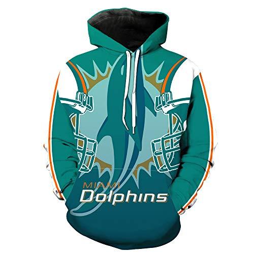 SZRXKJ Herren Hooded Langarm 3D Digitaldruck Miami Dolphins Fußball Team Pullover Hoodies Kapuzenpullis(XL,blau)