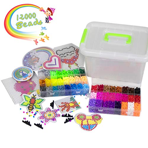 YRYM HT Bügelperlen - 12000 Stück Bügelperlen Set mit 48 Farben für Kinder - 5mm Steckperlen mit Mehreren Benötigten Zubehörteilen - Bügelperlen Kit für Kindergeschenk