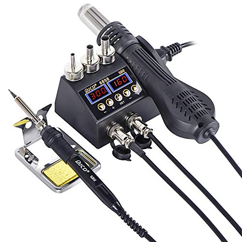 RF Electrónica, JCD 8898 Estación de soldadura 2 en 1, 750 W de aire caliente, pantalla digital LCD, estación de soldadura desoldadora para móviles BGA SMD PCB IC Reparación