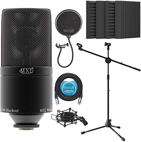 MXL 990 Cardioid Condenser Microphone for Vocals and Guitars Black Bundle with Blucoil 20 FT product image
