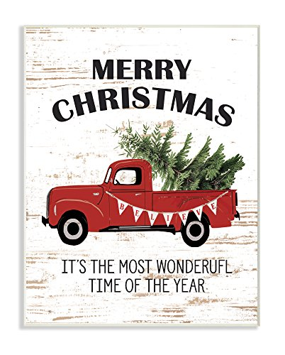 Stupell Industries Christmas Most Wonderful Time Vintage Truck Wall Plaque Art, Proudly Made in USA