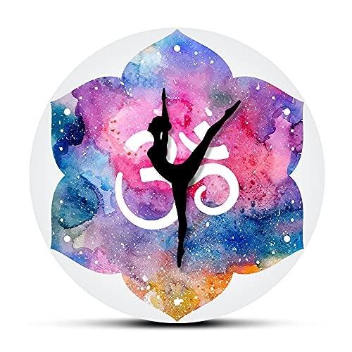 Usmnxo 12 Pulgadas sin Marco Acuarela Reloj de Pared Yoga Chica Reloj de Pared Estudio de Yoga Art Deco Reloj Regalo de Yoga