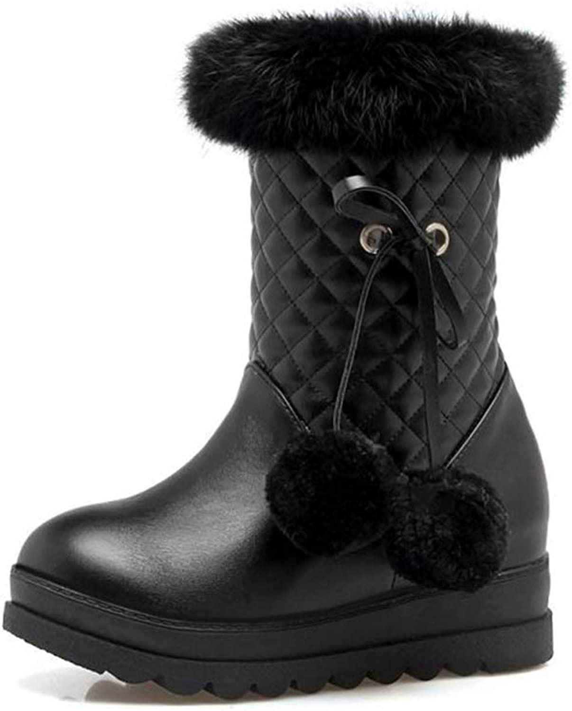 Super color Women's Snow Boots Platform Anti-Slip Soft Warm Fur Lined Winter Boots with Pompom