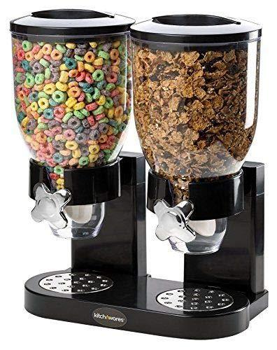 Dispensador de cereales de doble recipiente hermético transparente con bandeja integrada para comida seca, cereales de desayuno, comida para mascotas, caramelos y comidas (doble negro)