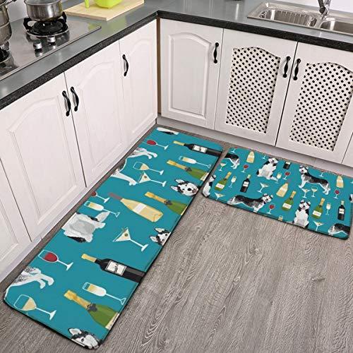 Juego de 2 alfombras de cocina Husky, vino, cócteles, raza de perro, lavable, alfombrillas de cocina, antideslizantes, para interiores y exteriores, juego de alfombras