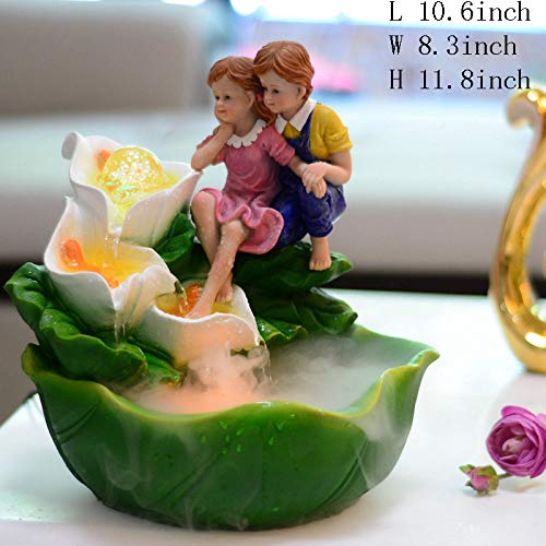 Statues Tabletop Fountain,Country Kids Water Fountain Horseshoe Lotus Living Room Fountain Household Decorations Wedding Gifts Business Gifts-Calla Lily B 11.8inch