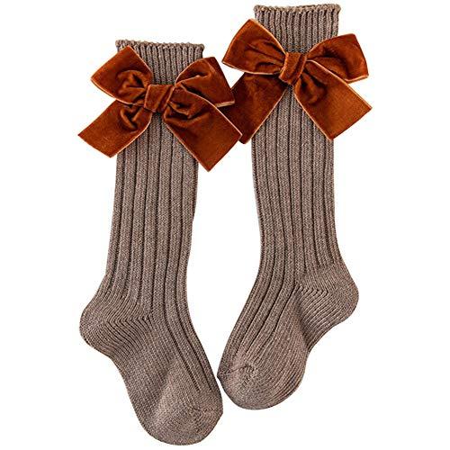Xpccj 1 par de calcetines hasta la rodilla de algodón ricos largos uniformes calcetines con lazo para niños de vuelta a la escuela uniforme calcetines