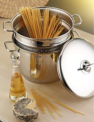 ADHW Stainless Steel Pasta/Spaghetti Pot Stockpot Strainer With Induction Base (Color : Spaghetti Pot)