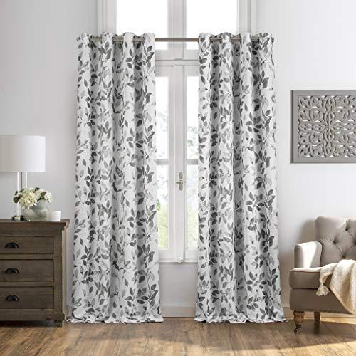 "Elrene Home Fashions Avalon Botanical Floral Leaf Print Blackout Window Curtain Panel, 52"" x 95""(1, Grey"