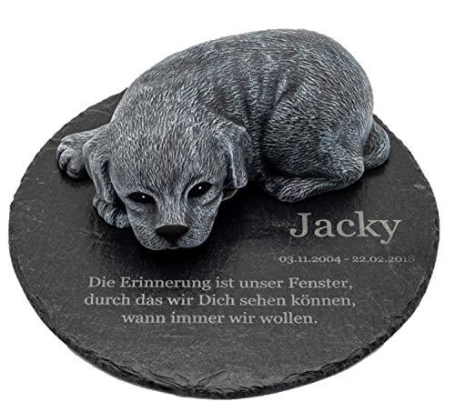 Tiefes Kunsthandwerk Gedenkstein Hund mit Wunschtext als Gravur, für Dein Haustier als wunderschöne Erinnerung für Dein Zuhause oder als Grabstein (1. R25 345-8)