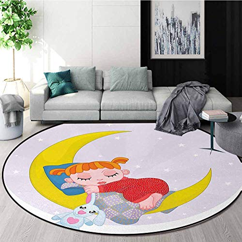 Purchase Cartoon Machine Washable Round Bath Mat,Girl On Moon With Her Teddy Bear Sleeping Luna Nigh...