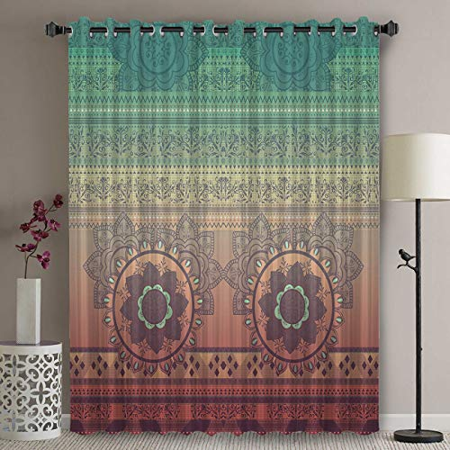 Libaoge Wide Thermal Blackout Patio Door Curtain Panel - 72 Inch Long Grommet Top Thermal Insulated Bedroom Darkening Curtain - Ombre Mandala Hippy Bohemian Gypsy Curtains for Sliding Glass Door