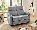 lifestyle4living Sofa mit Relaxfunktion in Grau, 2-Sitzer Relaxsofa, Vintage, Velour-Stoff/Federkern-Polsterung | Gemütliche Relax-Couch in modernem Design