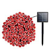 Lalapao Solar Lights Halloween Outdoor Decor 72ft 200 LED 8 Mode Solar Powered String Lights Waterproof for Indoor Garden Party Patio Home Wedding Lawn Christmas Tree Decorations (Red)