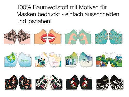 Baumwollstoff, Panel mit 12 aufgedruckten Motiven zum Nähen von Behelfsmasken/Masken, Gr. S/M - Motiv Lippen, 60 cm