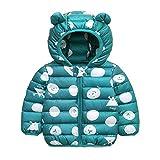 Bebé Chaqueta Invierno, Niños Niñas Abrigo con Capucha Traje de Nieve Manga Larga Outfits Calentar Warmer Regalos Ropa 1-2 años,Verde