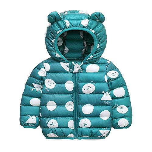 Bebé Chaqueta Invierno, Niños Niñas Abrigo con Capucha Traje de Nieve Manga Larga Outfits Calentar Warmer Regalos Ropa 2-3 años,Verde