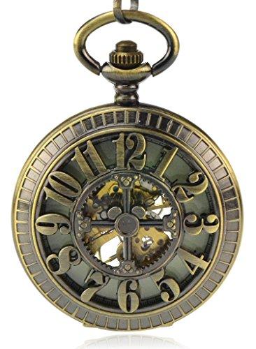 Unendlich U Quadrante luminoso, numeri arabi a carica manuale, orologio meccanico da tasca con scheletro cavo, orologio da polso e collana, 7 opzioni e base metal, colore: Quadrante luminoso-g., cod. IUP407-G