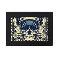 インドの人間の骨格の祭司の聖職者を犠牲にしてトーテムタトゥーイラストパターンの人生 デスクトップフォトフレーム画像ブラックは、芸術絵画7 x 9インチ