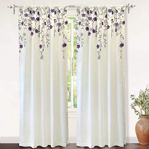 """DriftAway Isabella Faux Silk Embroidered Window Curtain, Embroidered Crafted Flower, Lined with Thermal Fabric, Single Panel, One Panel, 50""""x84"""" (Ivory/Purple)"""