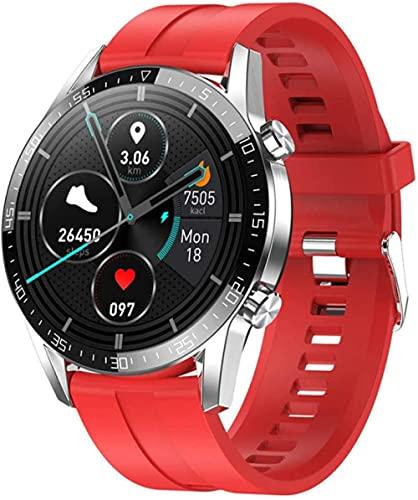 reloj inteligente reloj inteligente hombres mujeres IP68 smartwatch Android ECG reloj inteligente para teléfono Android Apple Iphone IOS-rojo silicona