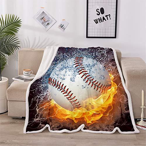 A Nice Night Baseball Print Sherpa Fleece Blanket Twin Size Plush Throw Blanket Fuzzy Soft Blanket Microfiber (Baseball, Twin(60x80 Inch))