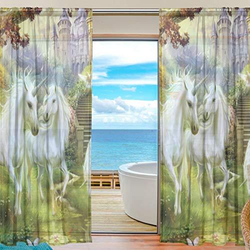 "TIZORAX - Cortinas Transparentes con diseño de Unicornios de fantasía para Sala de Estar, Barra, Ventana, Cortina de Gasa Transparente para Dormitorio, 1 par, 140 x 198 cm, poliéster, 55"" W x 78"" L"