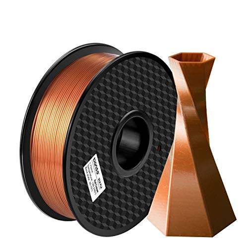 TIANSE Filamento de Seda de la Impresora 3D,1.75mm 1KG (2.2LBS),Spool Filament for 3D Printing,Precisión Dimensional +/- 0.03 mm,【Sin Enredos y Sin Bloqueo】 (Cobre Rojo)
