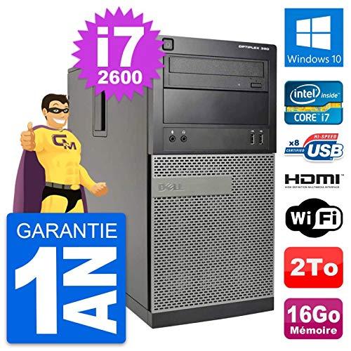 Dell PC Tour Optiplex 390 MT i7-2600 RAM 16Go Disk 2To HDMI Windows 10 Wifi (Reconditioned)