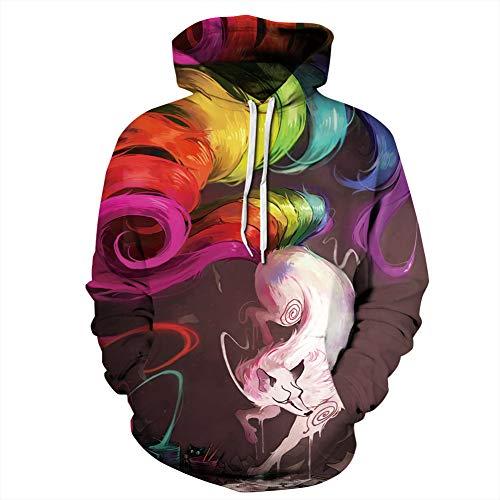 Nine-Tailed Fox 3D Digital Printing Hooded Paar Trui, Losse Hipster Honkbal Uniform stijlnaam XX-Large Kleur