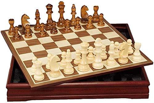 Chess Ajedrez Conjunto de ajedrez portátil de Madera, ajedrez magnético de Viaje con la Inteligencia de ajedrez portátil del Tablero de Almacenamiento, Fiesta de Cambio de Intercambio ZSMFCD