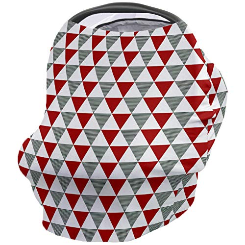 For Sale! Geometric Nursing Cover for Baby Breastfeeding, Soft Breathable Stretchy Carseat Canopy, N...