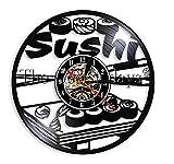 JEFEYI Reloj de Pared de Vinilo Navidad Sushi Rollers Design Sign Decoración de la Cocina Reloj de Disco de Vinilo Comida Deliciosa Arte de la Pared Regalo para el Amante del Sushi - 30cm Regalo