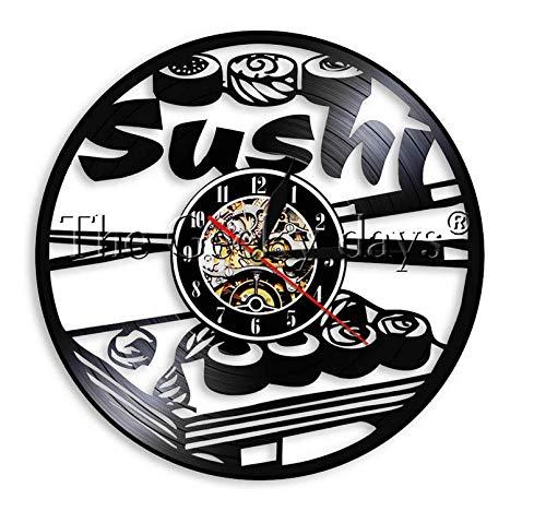 LiHiFG Sushi Rollers Design Sign Decoración de la Cocina Reloj de Disco de Vinilo Comida Deliciosa Arte de la Pared Regalo para el Amante del Sushi