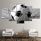 WMWSH Bilder Abstrakt 5 Teilig Wandbild Fußball Vlies -