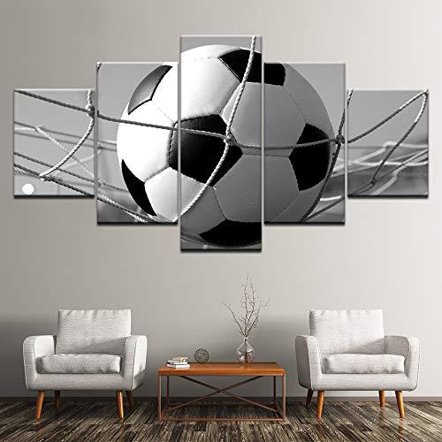 WMWSH Bilder Abstrakt 5 Teilig Wandbild Fußball Vlies - Leinwand Bild Wandbilder Wohnzimmer Wohnung Deko Kunstdrucke Modern Wandbilder Design Abstrakt Poster Wanddekoration