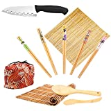 Bamboo Sushi Making Kit-2 Carbonized Bamboo sushi Rolling Mats,1 Sushi Knife, 5 Pairs Chopsticks,1 Rice Paddle,1 Rice Spreader,1 Storage Bag-Complete Sushi Maker for Beginner (Red wave)