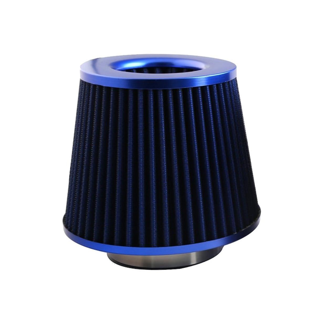 急行する上回るフォーム(Twin-happiness) エア クリーナー フィルター 大容量 ステンレス メッシュ タイプ キノコ型 吸気 効率 最大化 汎用 76mm (ブルー)