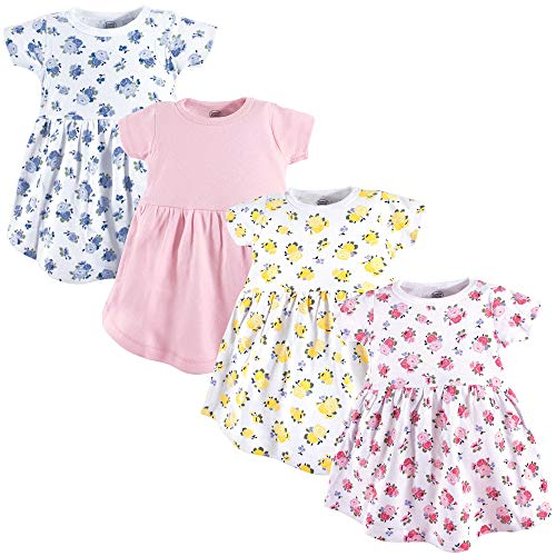 Luvable Friends Baby Girls' Cotton Dress, Floral, 2 Toddler