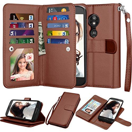 "Mote E5 Play Wallet Case, Motorola Moto E5 Cruise/Moto E5 GO 5.2"" Case, Njjex [9 Card Slots] PU Leather ID Credit Folio Flip Cover [Detachable][Kickstand] Magnetic Phone Case & Wrist Strap - Brown"
