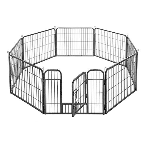 FEANDREA Welpenauslauf Welpenlaufstall Tierlaufstall Freilaufgehege Hundelaufstall Welpenzaun Absperrgitter Zaun Gitter Welpen Hasen Kaninchen 8-Eck grau 77 x 60 cm PPK86G