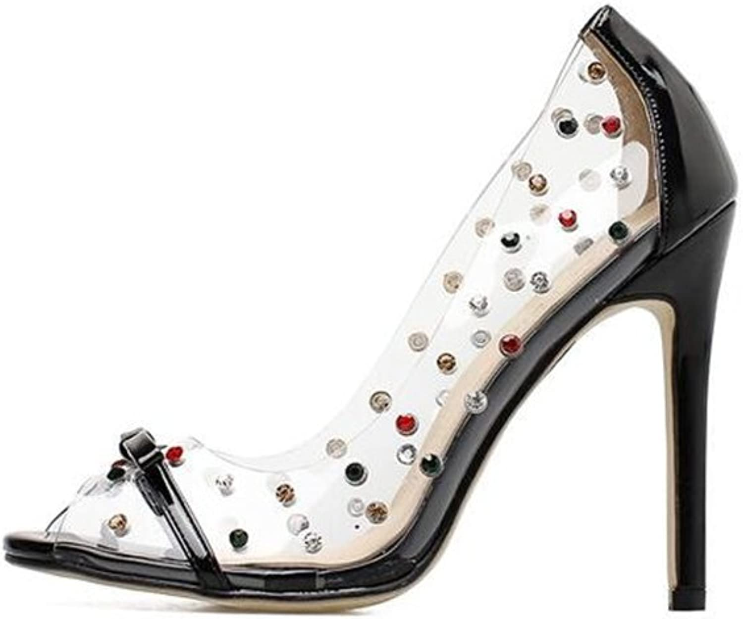 SUNNY Store Women's High Heels Sandals Linear Shape Transparent Upper Square Peep Toes with Strape
