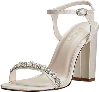 7f9bfa0da127 David s Bridal Embellished Satin Block Heel Sandals Style ELSA