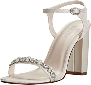 Embellished Satin Block Heel Sandals Style ELSA