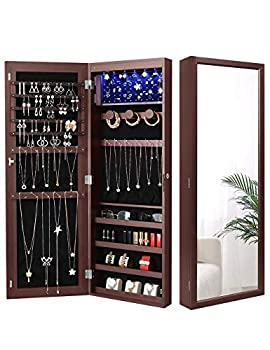 Nicetree 6 LEDs Jewelry Armoire Organizer Wall/Door Mounted Jewelry Cabinet with Full Length Mirror Larger Capacity Dressing Mirror Brown