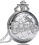 WYDSFWL Collar Reloj de Bolsillo de Plata de Cuarzo Colgante Antiguo Bolso de Cadena Reloj Motor Cyclem Motor Bicicleta para Hombres y Mujeres Regalo
