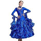 Ropa de Vestir Tango Vals Modern Dance Vestido de Señora Norma de Baile de Salón Vestido de Las Mujeres,Azul,M