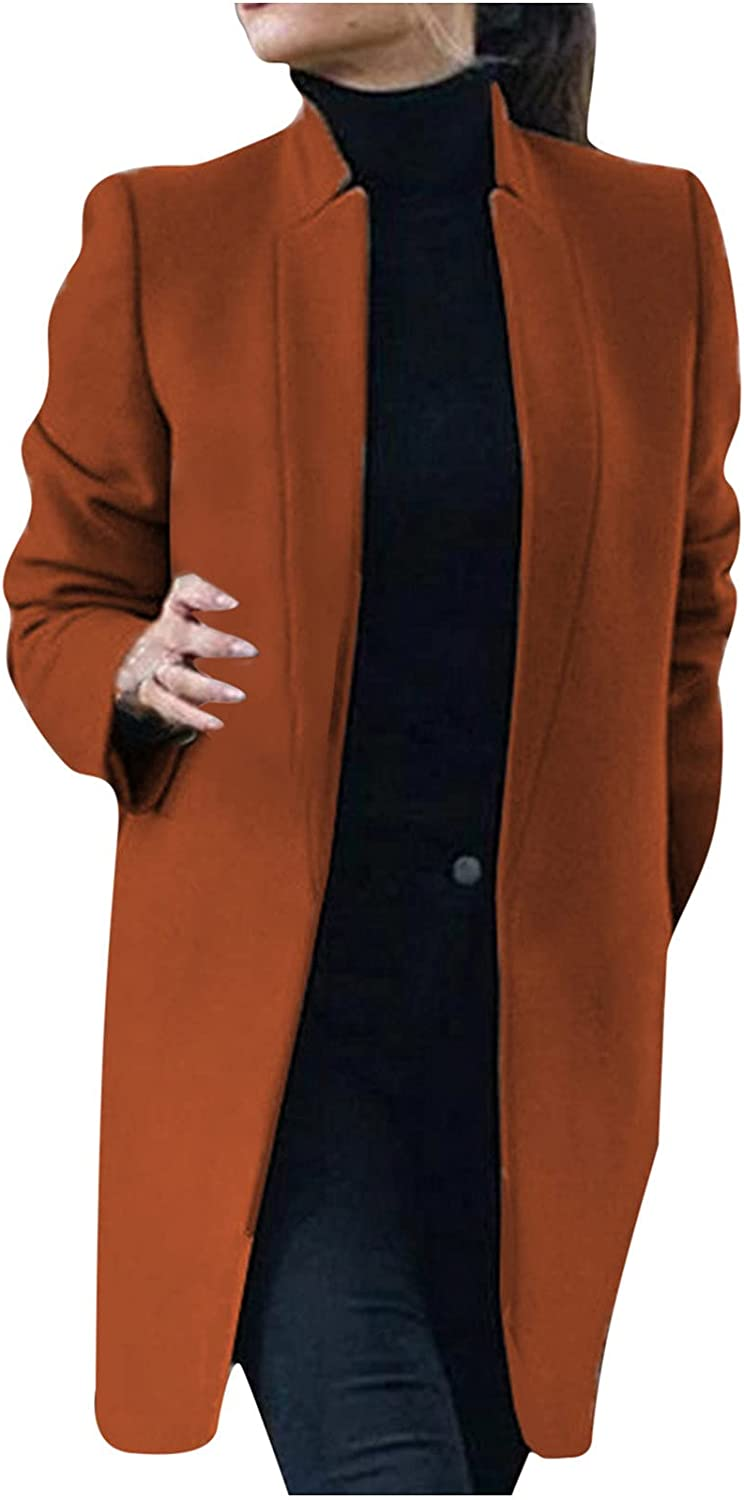 RFNIU Women's Fall Fashion Large Size Solid Color Jacket Stand-up Collar Mid-length Long Sleeve Woolen Jacket